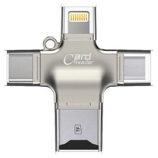 【IS 愛思】IS-OT1S 鋁合金限定版 多功能四合一讀卡機(MicroUSB/Lightning/Type-C/USB/TF)