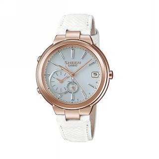 【CASIO 卡西歐】SHEEN 藍牙智慧型腕錶系列/35mm/蜜桃金x白皮質錶帶(SHB-200CGL-7A)