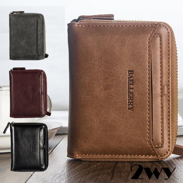 【2WY】復古證照夾多卡拉鍊皮夾錢包短夾(棕色/深紫色/黑色/灰色)/