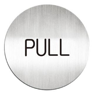 【deflect-o】鋁質圓形貼牌-PULL 611310C(鋁質貼牌)