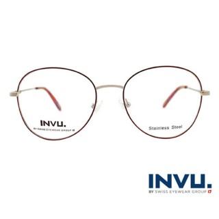 【【INVU】瑞士文雅質感細褐圓框光學眼鏡(白銀/夕陽紅)】B3906B