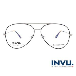 【【INVU】瑞士文雅質感無框光學眼鏡(白銀/琥珀)】B3809A