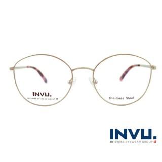 【【INVU】瑞士文雅質感貓眼細框光學眼鏡(白銀/瑰粉)】B3905B