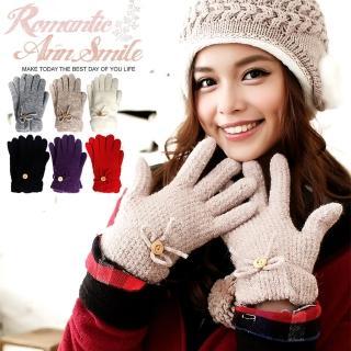 【微笑安安】MIT雪花織紋蝴蝶結毛絨內裡保暖針織手套(4色)