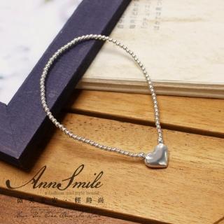 ~微笑安安~愛心細緻銀珠925純銀伸縮彈性手鍊