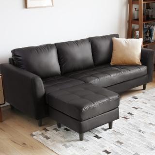 【H&D】彿拉經典L型皮沙發-3色(三+凳 三人座 L型 皮沙發 三人皮沙發)