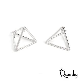 【Quenby】925純銀 極簡風幾何立體耳環/耳針(飾品/配件/銀色)