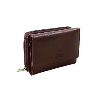 【Sika】時尚牛皮壓扣中夾(A8249-02深咖啡)