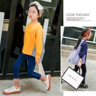 【小衣衫童裝】中大童時尚後開扣拼接襯衫長袖上衣(1070850)
