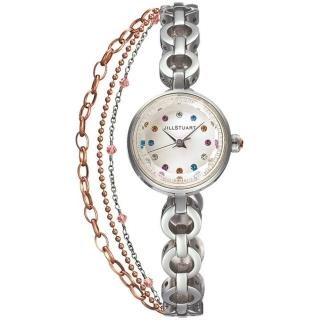 【JILL STUART】Chain系列秀氣優雅時尚晶鑽鍊錶款(銀/彩鑽 JISILDR005)