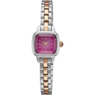 【JILL STUART】Ring Square系列優雅時尚方型錶款(銀玫瑰金/桃紫面 JISILDV002)