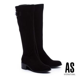 【AS集團】極簡品味金屬方釦帶麂布粗跟長靴(黑)