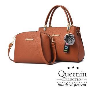 【DF Queenin】歐美都會時尚淑女單肩手提子母包-共3色