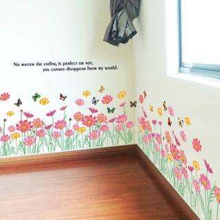【半島良品】DIY無痕創意牆貼/壁貼-蝴蝶飛花花-AY870(無痕壁貼