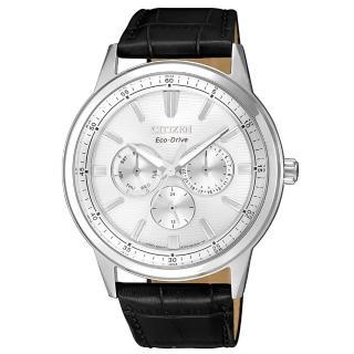 【CITIZEN 星辰】GENTS超越時代三眼計時光動能腕錶(BU2071-01A)