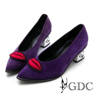 【GDC】真皮新潮歐美大牌紅唇銀鞋跟尖頭高跟鞋-紫色(721837)