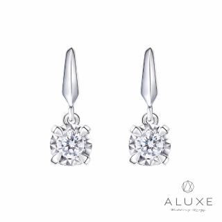 【A-LUXE 亞立詩】18K 0.23克拉雙倍顯鑽垂吊式鑽石耳環