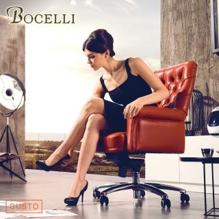 【BOCELLI】GUSTO品味風尚中背辦公椅義大利牛皮橘紅(牛皮辦公椅)