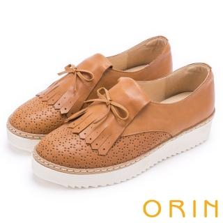 【ORIN】懷舊復古學院風 洞洞流蘇牛皮造型厚底鞋(棕色)