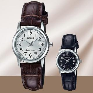 【CASIO 卡西歐】溫雅英倫皮革女錶-黑/銀x31mm(LTP-V002L-1B/7B2)
