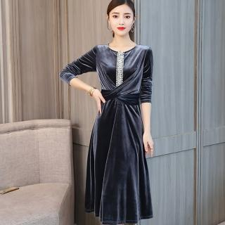 【ALICAI 艾麗彩】閃亮珍珠中飾交叉設計絨布洋裝(中大尺碼/兩色/M-3XL)