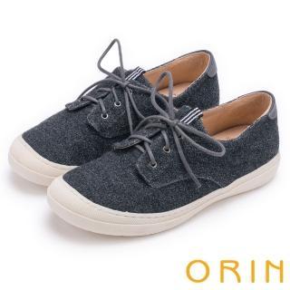 【ORIN】潮流同步 百搭素面綁帶休閒平底鞋(灰色)