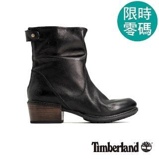 【Timberland】女款黑色全粒面皮革休閒低跟靴(A1SDF015)