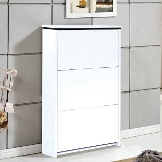 【AT HOME】現代簡約2.3尺白色三門掀式鞋櫃(70x17x105cm)