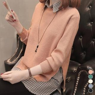 【MsMore】韓款簡約俐落格紋襯衫毛衣針織上衣兩件套裝組103255#j(5色)