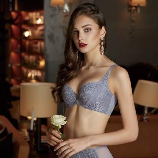 【曼黛瑪璉】V極線內衣  E-F罩杯(灰藍)