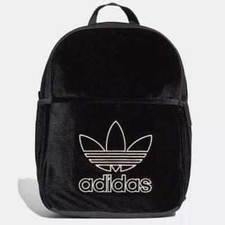 【adidas 愛迪達】後背包 Mini Classic Backpack 愛迪達 天鵝絨 三葉草圖案 休閒 旅遊 黑 白(DH2959)