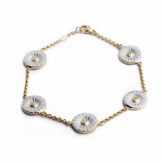 【Georg Jensen 喬治傑生】Daisy 5朵 純銀鍍金+白琺瑯手鍊
