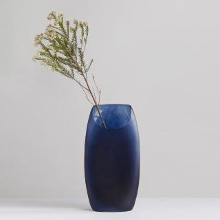 【3,co】玻璃月型口扁平花器-藍(9號)