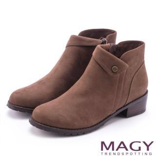【MAGY】簡約時髦 復古反折鉚釘牛皮短靴(棕色)