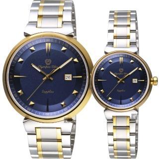 【Olympia Star 奧林比亞之星】尊爵石英對錶-藍x雙色版/41+29mm(58081GSK藍面+58081LSK藍面)