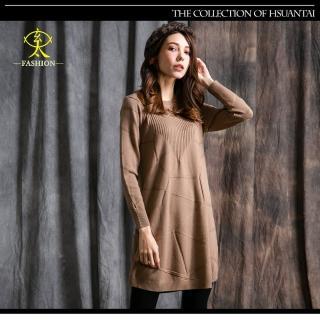 【玄太】不規則線條造型織紋針織長版上衣(卡其)