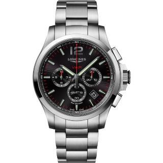 【LONGINES 浪琴】征服者系列V.H.P.萬年曆計時手錶-黑x銀/43mm(L37274566)