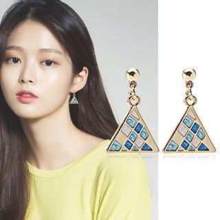 【梨花HaNA】耳針/耳夾選韓國貝殼貝石馬賽克三角幻藍耳環