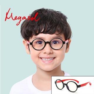 【MEGASOL】抗藍光UV400兒童眼鏡(時尚美觀濾藍光護目鏡KDF012-兩色任選)
