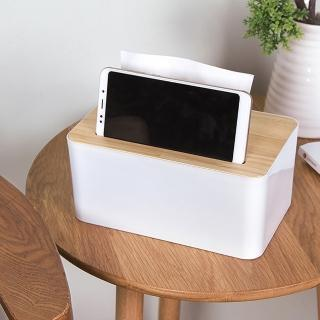 【E.City】北歐風手機卡槽款木蓋質感紙巾盒(桌面收納最佳幫手)
