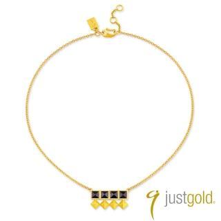 【Just Gold 鎮金店】搖滾鉚釘純金系列 黃金項鍊(輕巧版)