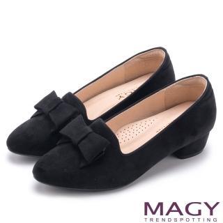 【MAGY】復古上城女孩 質感絨布蝴蝶結低跟鞋(黑色)