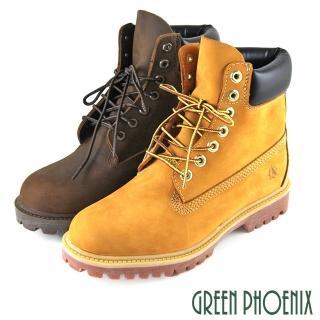 【GREEN PHOENIX波兒德】男款素面綁帶蠟感牛皮平底休閒黃靴/短靴(棕色)