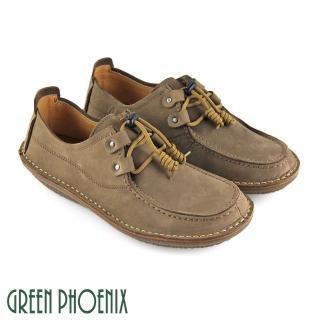 【GREEN PHOENIX波兒德】極簡皮環鞋釦蠟感牛皮平底手縫休閒鞋(綠色)