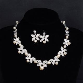 【Angel】奢華珍珠蝴蝶水鑽優雅項鍊耳環組(兩件式套組)