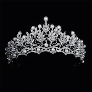 【Angel】華美珍珠花葉水鑽新娘女神頭飾髮箍(白色)