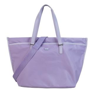 【agnes b.】壓克力皮革飾邊兩用包(大/粉紫)