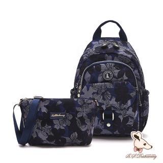 【冰山袋鼠】楓糖瑪芝-輕旅單肩後背兩用包+側背小包2件組(花繪風)
