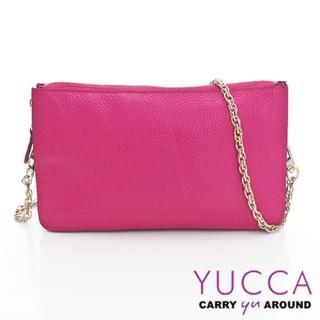 【YUCCA】牛皮淑女優雅手拿鏈帶包-桃紅(D0020012009)