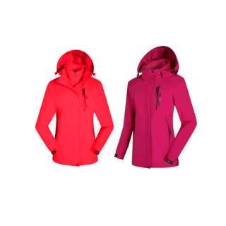 【SAMLIX 山力士】女兩件式防潑水衝鋒衣(紅色.玫紅)
